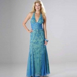 photo credit: sears.com. Formal Gallery beaded prom dress, Womens long evening gown, Halter dress (50181), turq/lime,on sale for $149, reg price= $310, available in sizes small to extra large