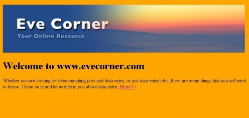 Eve Corner, Sample HTML web page