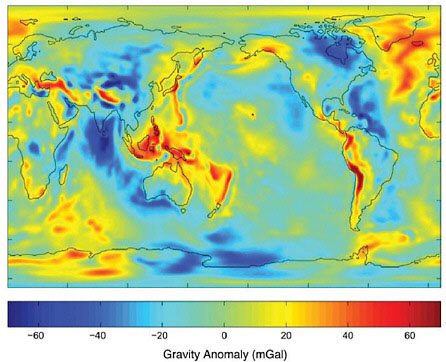 Gravitational anomalies centered in the Pacific Ocean basin and the ring of fire.