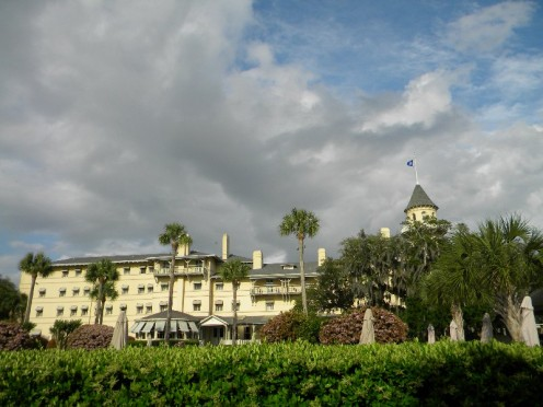 The front view of the Jekyll Island Club Hotel