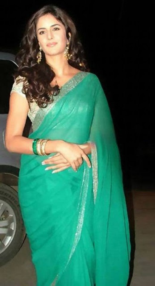 Katrina in the Green saree. A casual look.