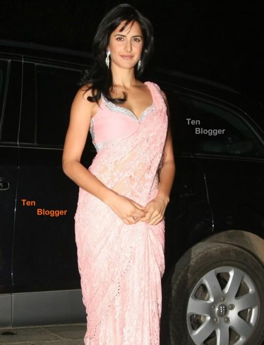 Katrina in stunning baby pink saree