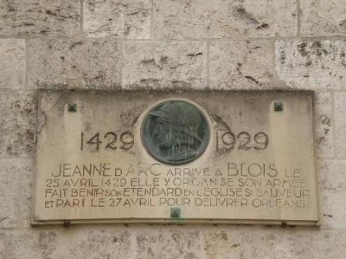 Plaque showing date Joan of Arc's visit