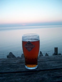 An ale in Wales, looking over the Irish Sea