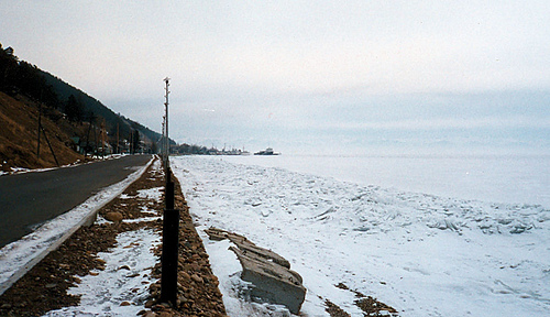 Frozen Lake Baikal in winter