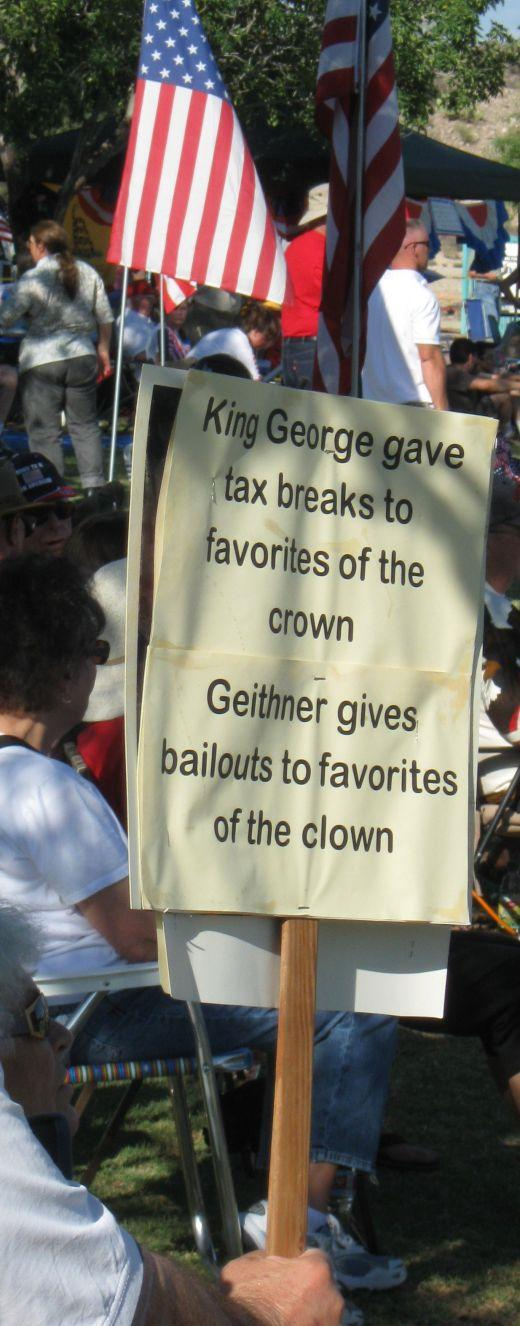 Tea Party activist's sign comparing Obama Administration to King George III