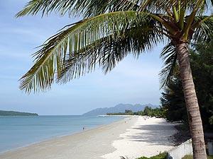 White sandy beach, Pantai Cenang