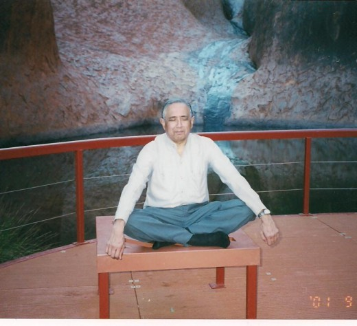 Pravin Vaghani in Meditation at Uluru, Australia