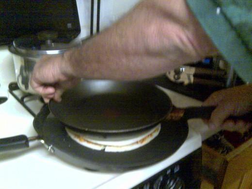 Medium heat, pressed hard with heavy pan.