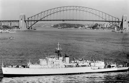 "Something akin to my view ""From the Deck."" But this photo shows a later, refitted Barcoo, i.e. after her last refit in 1959"