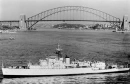 """Something akin to my view """"From the Deck."""" But this photo shows a later, refitted Barcoo, i.e. after her last refit in 1959"""