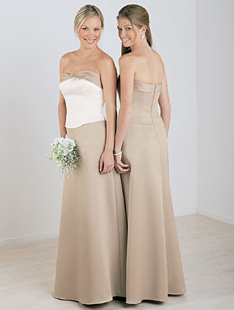 Bridesmaid Dresses/Alfred Angelo Separates Bridesmaids Style 6306 Satin Rhinestone Pin Optional Spaghetti Straps      Bodice available in 55 colors   Skirt and neckline trim available in 55 colors  Sizes: 2 to 28W, 8JB to 14JB