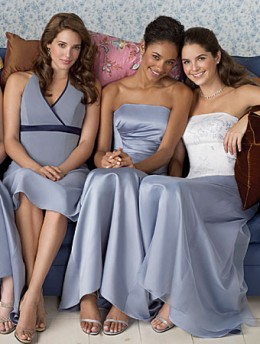 Bridesmaid Dresses/Alfred Angelo Separates  Left: Bodice Style 6492 & MSKT-L Center: Bodice Style 6502 & MSKT-D Right: Bodice Style 6102 & MSKT-N Shown in Cornflower Available in 55 colors  Sizes: 2 to 20, 16W to 28W