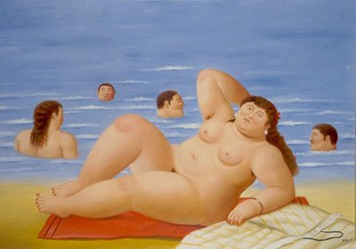 """Painting from """"The Beach"""" series, by Botero. It's simply delicious!"""
