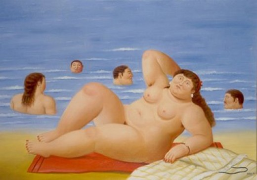 "Painting from ""The Beach"" series, by Botero. It's simply delicious!"