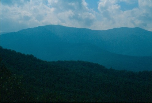 Mount Mitchell, North Carolina, viewed from the Blue Ridge Parkway, Mile 350.