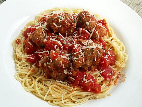 One of Americas favorites-spaghetti and meatballs