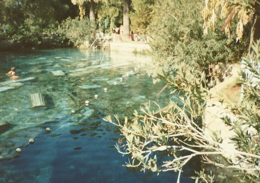 The hot pool at Hotel Pamukkale. Notice pieces of ancient columns in the pool. Personal photo.