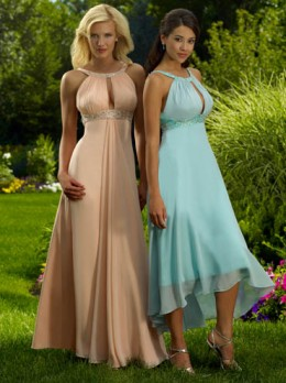 Bridesmaid Dresses:Raylia Bridesmaid Dresses 2184Z A-line Chiffon gown with Bateau neckline. Ruched bodice with beaded band at bust. Zipper back.