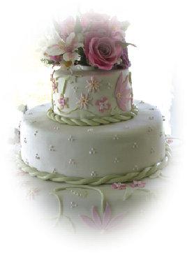 Wedding Cake Ideas: stacked wedding cake with rope trim