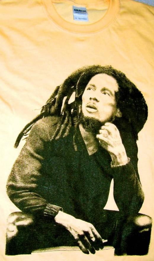Bob Marley T-shirt front print.