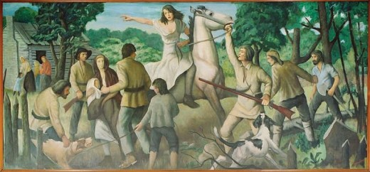 Mural by John W. Beauchamp during a Depression Era WPA project: Rachel Silverthorne's Ride in August 1778, in the Muncy Post Office, Lycoming County PA.