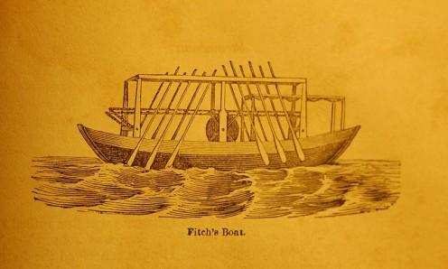 The John Fitch 1787 oar-propelled steamboat; Philadelphia.