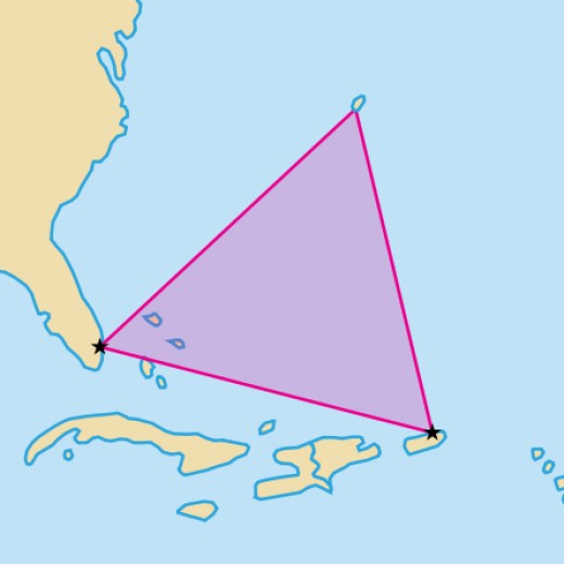 The Bermuda Triangle is mapped as the region in the illustration.