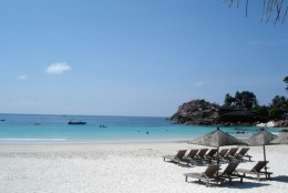Postcard view of sandy white beach at Perhentian Besar