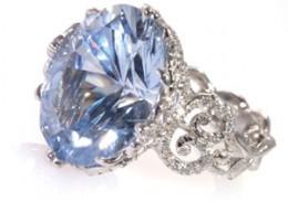 Saphire and Platinum Filigree Ring