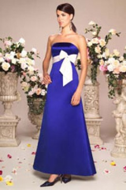 Bridesmaid Dress: Venus Bella Bridesmaids Dress BM1157 Strapless A line gown of duchess satin has a contrasting silky taffeta band and bow. Buttons down the back.