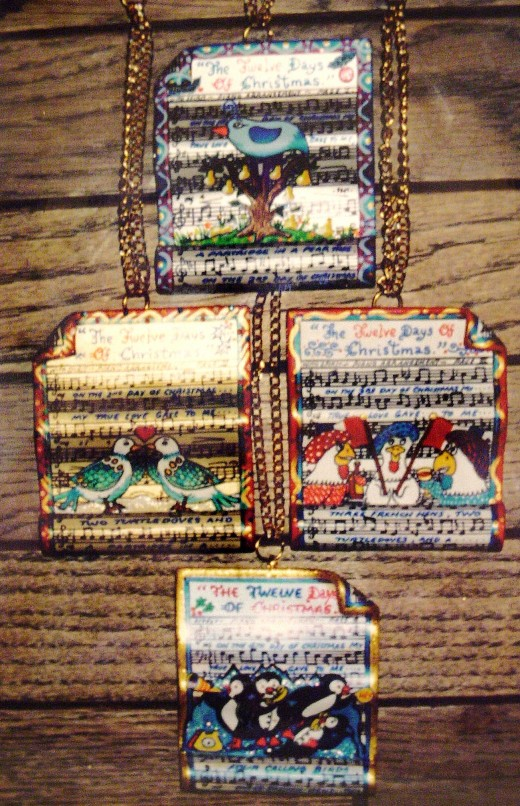 My Twelve Days Of Christmas ornaments, 100 art lovers purchased these sets from me....getting one every year for twelve years.