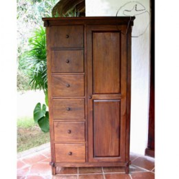 A beautiful tropical armoire made with reclaimed sustainable wood.