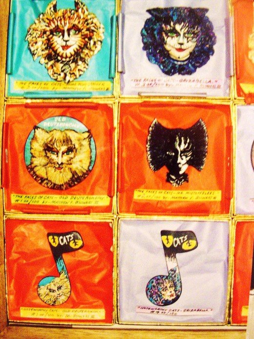 Cats Pins, Each memeber of the cast of cats bought a pin from me to match their characters      Not for sale