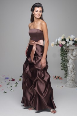 Bridesmaid Dress: Venus Bella Bridesmaids Dress D480 Strapless satin gown with pickup skirt is accented by a satin tie at the empire waist