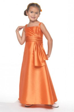 Flower Girl: Flower Girl Dress Venus Little Maiden LM3404 Gown of Silky Taffeta features horizontal and vertical pleating with a rouched band at the empire. Pleated flounce at the waist, crinoline