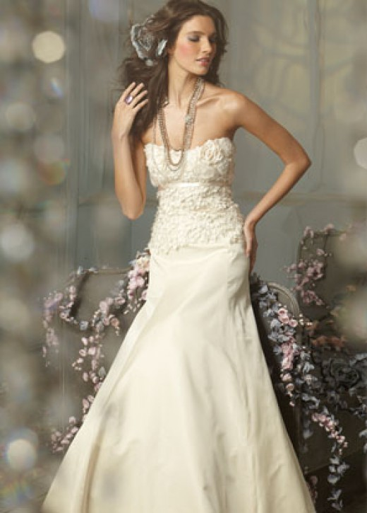 Jim Hjelm Bridal Gowns, Wedding Dresses: Style jh8001 Ivory Silk Taffeta princess formal bridal gown, strapless floral embroidered bodice, vanilla satin ribbon at empire, chapel train