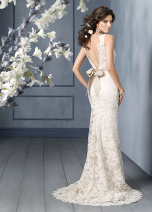 Jim Hjelm Bridal Gowns, Wedding Dresses: Style jh8904 Ivory Alencon lace over Champagne Charmeuse modified A-line bridal gown, scallop bateau neckline, V-back, wide Champagne silk moire ribbon, sweep train