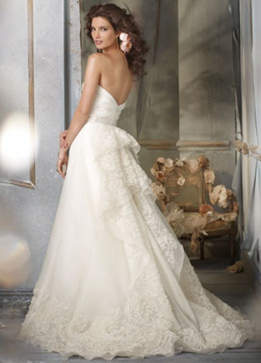 Jim Hjelm Bridal Gowns, Wedding Dresses: Style jh8002 Ivory Silk Organza A-line formal bridal gown, strapless draped bodice, natural waist with Ivory ribbon and floral detail, embroidered cascade back and hem, chapel train.