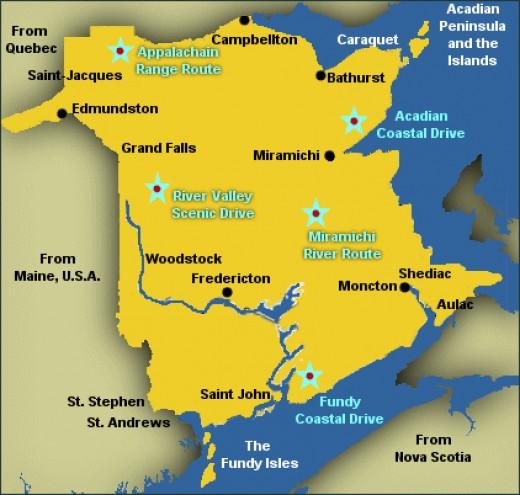 Map from newbrunswicktravelplanner.com