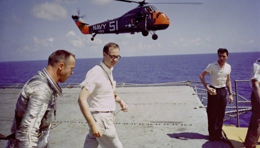 Alan Shepard aboard the recovery carrier USS Lake Champlain. Photo courtesy of NASA.