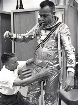 Alan Shepard suits up prior to launch. Photo courtesy of NASA.
