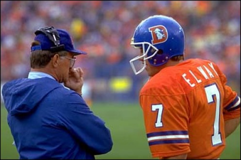 John Elway with Dan Reeves. A contentious relationship