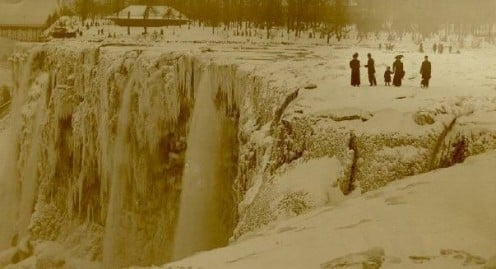 Niagara Falls in 1911 - frozen solid photo from boldt.us