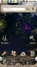 """PandaHome, running """"Fireworks"""" Live Wallpaper. and """"Ancient Things"""" theme."""