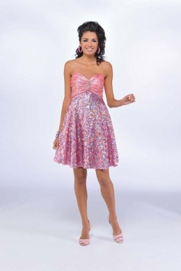 Prom Dress: Bonny Mystic Prom Dress Style:3000 Metallic Charmeuse and Sequined tulle