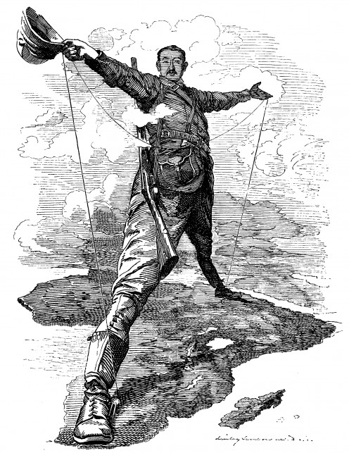 Punch cartoon of Rhodes as Colossus. Image from Wikipedia