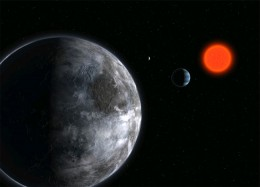 Gliese 581 c is depicted from nearby space in this artist's rendition.