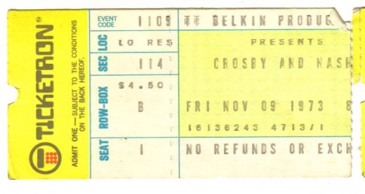 Ticket from the show in '73