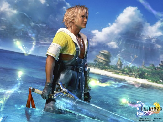 Tidus stands in the shallows of Besaid in Final Fantasy X. Credit to ps2media.ign.com